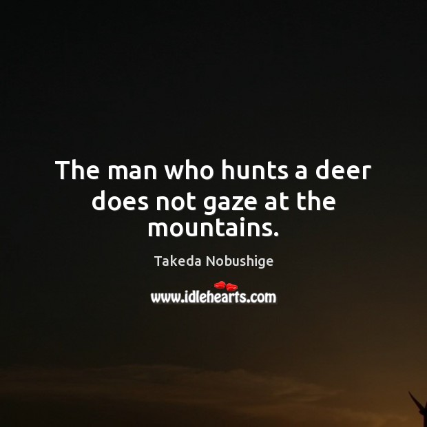 The man who hunts a deer does not gaze at the mountains. Image