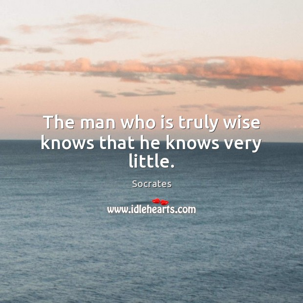 The man who is truly wise knows that he knows very little. Socrates Picture Quote