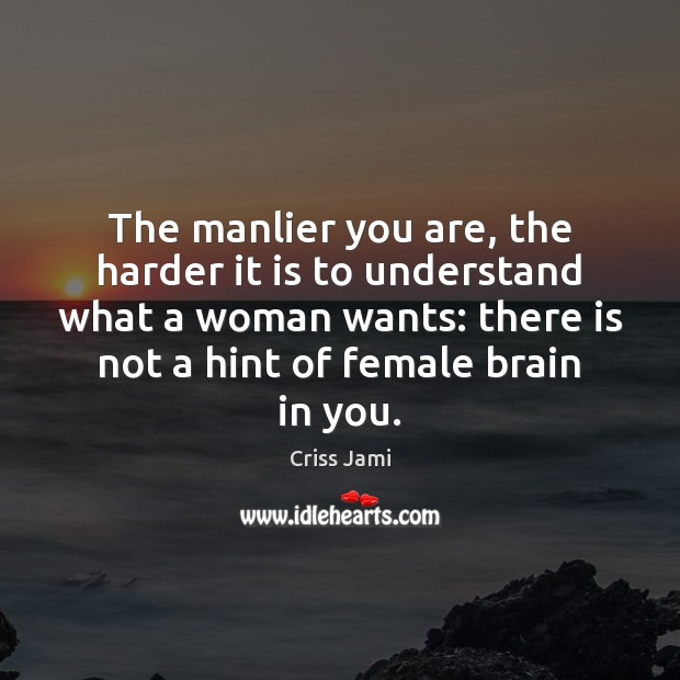 The manlier you are, the harder it is to understand what a Image