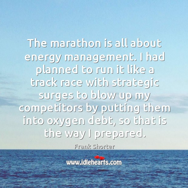 The marathon is all about energy management. I had planned to run it like a track race Image