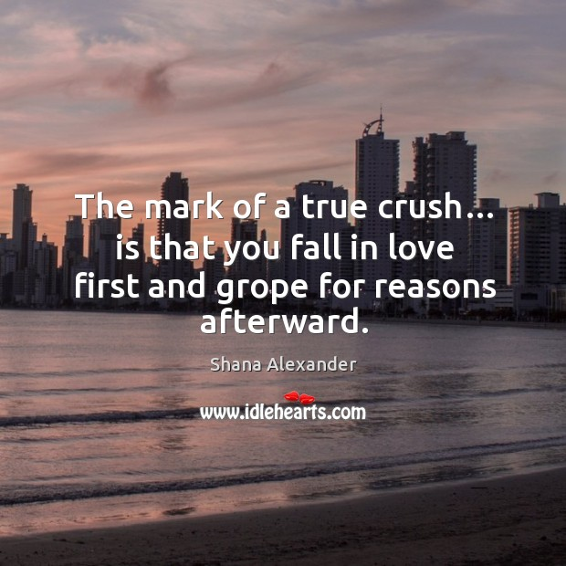 Image, The mark of a true crush… is that you fall in love first and grope for reasons afterward.