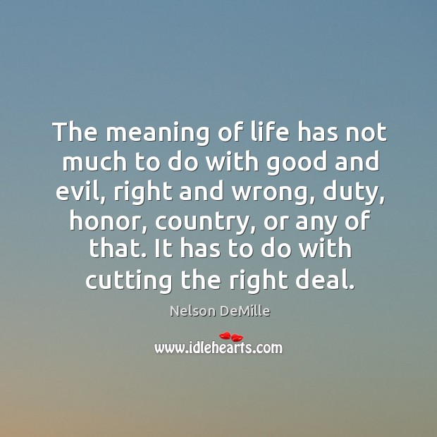 The meaning of life has not much to do with good and Nelson DeMille Picture Quote