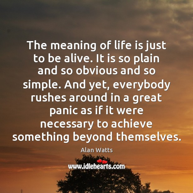The meaning of life is just to be alive. It is so Image