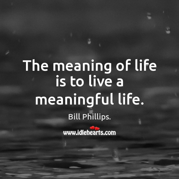The meaning of life is to live a meaningful life. Image