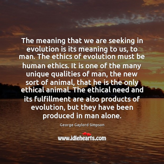 The meaning that we are seeking in evolution is its meaning to Image