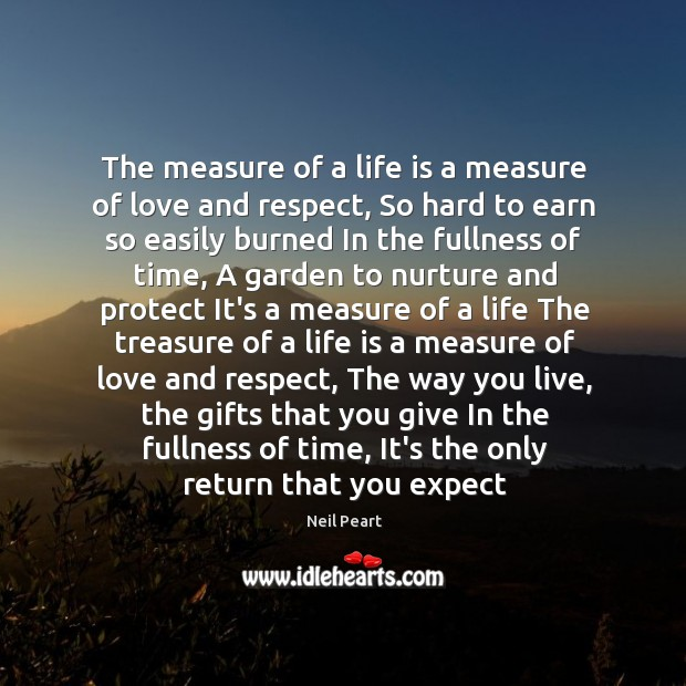 The measure of a life is a measure of love and respect, Image