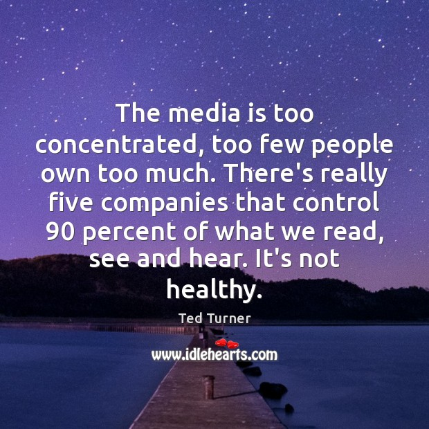 The media is too concentrated, too few people own too much. There's Ted Turner Picture Quote
