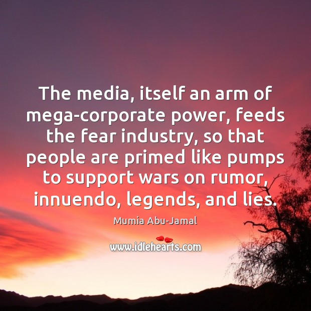 The media, itself an arm of mega-corporate power, feeds the fear industry, Image