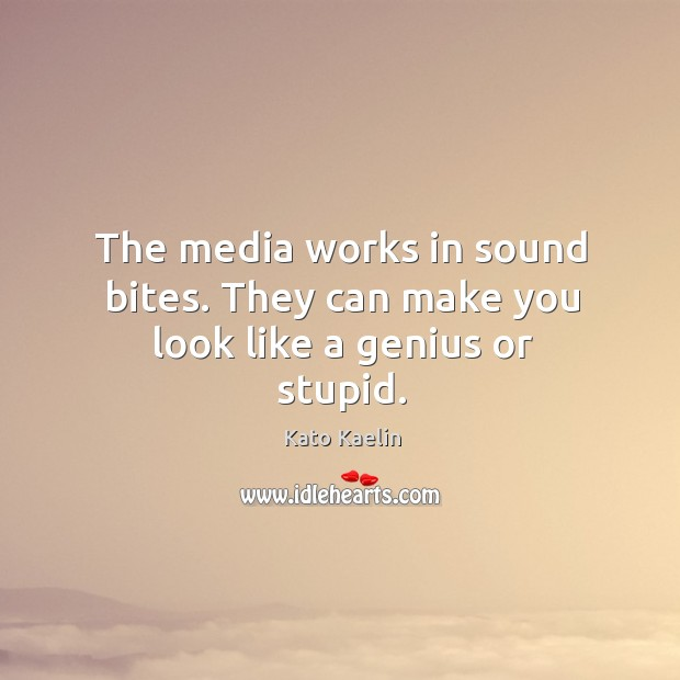The media works in sound bites. They can make you look like a genius or stupid. Kato Kaelin Picture Quote
