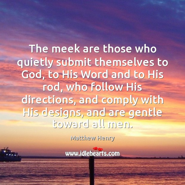 The meek are those who quietly submit themselves to God, to His Image