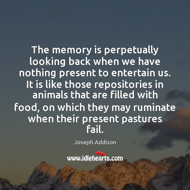 The memory is perpetually looking back when we have nothing present to Image