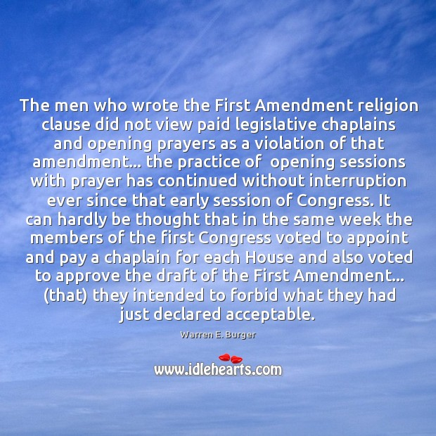 The men who wrote the First Amendment religion clause did not view Image