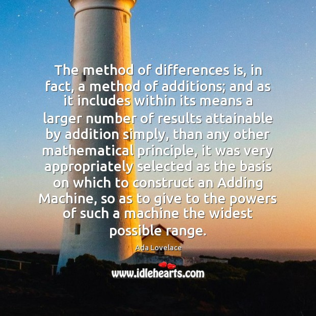 Image, The method of differences is, in fact, a method of additions; and