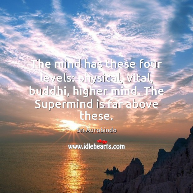 The mind has these four levels: physical, vital, buddhi, higher mind. The Sri Aurobindo Picture Quote