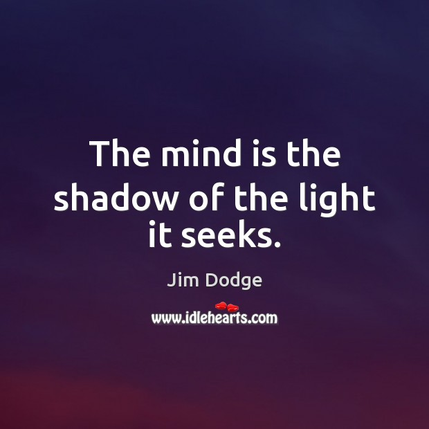 The mind is the shadow of the light it seeks. Image