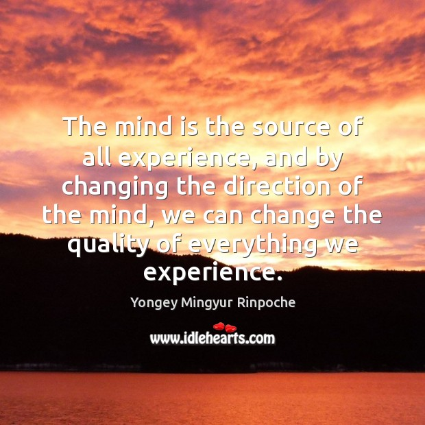 The mind is the source of all experience, and by changing the Yongey Mingyur Rinpoche Picture Quote