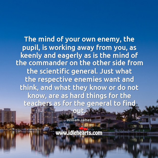 The mind of your own enemy, the pupil, is working away from Image