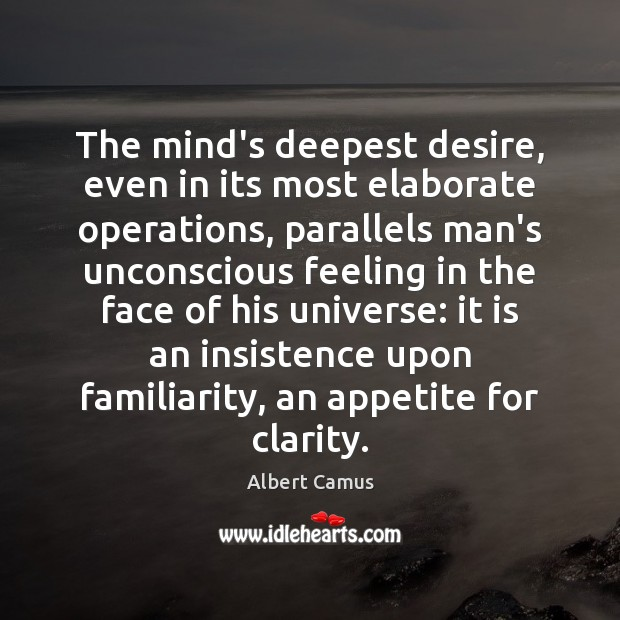 The mind's deepest desire, even in its most elaborate operations, parallels man's Image