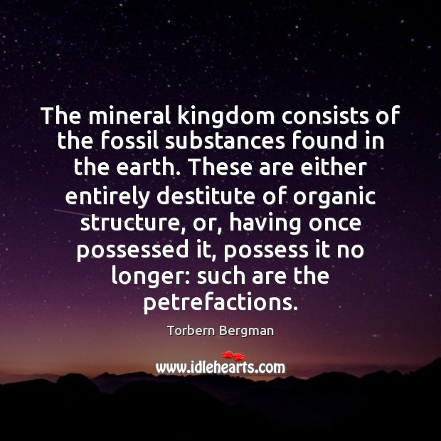 The mineral kingdom consists of the fossil substances found in the earth. Image