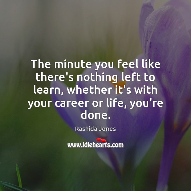 The minute you feel like there's nothing left to learn, whether it's Rashida Jones Picture Quote
