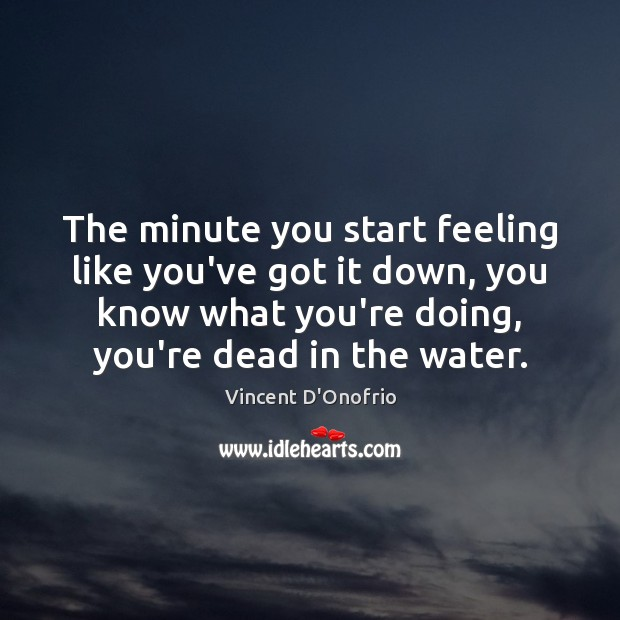 The minute you start feeling like you've got it down, you know Vincent D'Onofrio Picture Quote