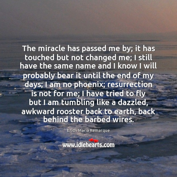 The miracle has passed me by; it has touched but not changed Erich Maria Remarque Picture Quote