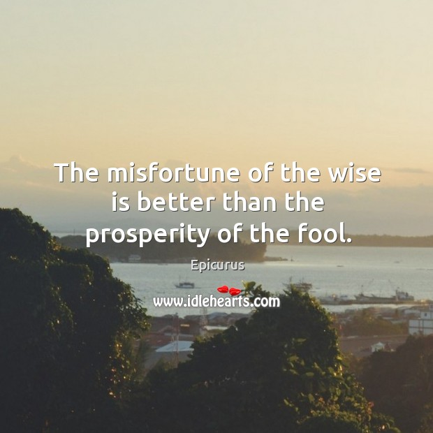 Image, The misfortune of the wise is better than the prosperity of the fool.