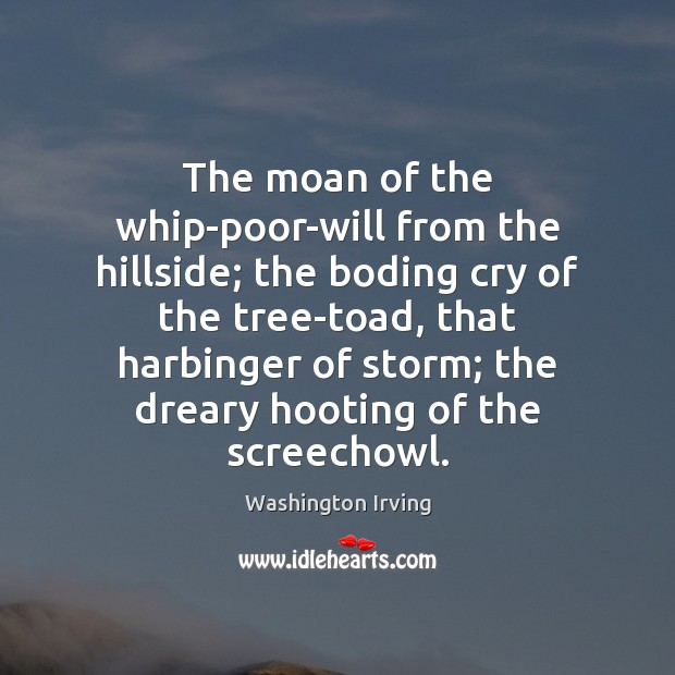 The moan of the whip-poor-will from the hillside; the boding cry of Washington Irving Picture Quote