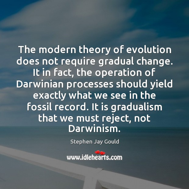The modern theory of evolution does not require gradual change. It in Image