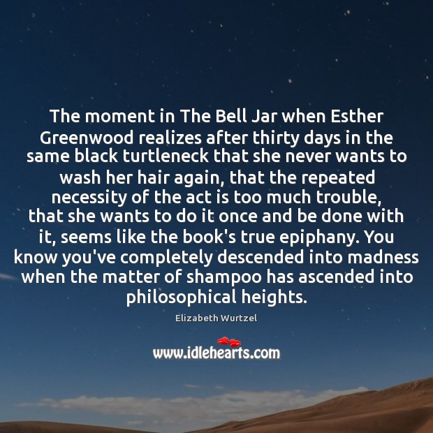 Image, The moment in The Bell Jar when Esther Greenwood realizes after thirty