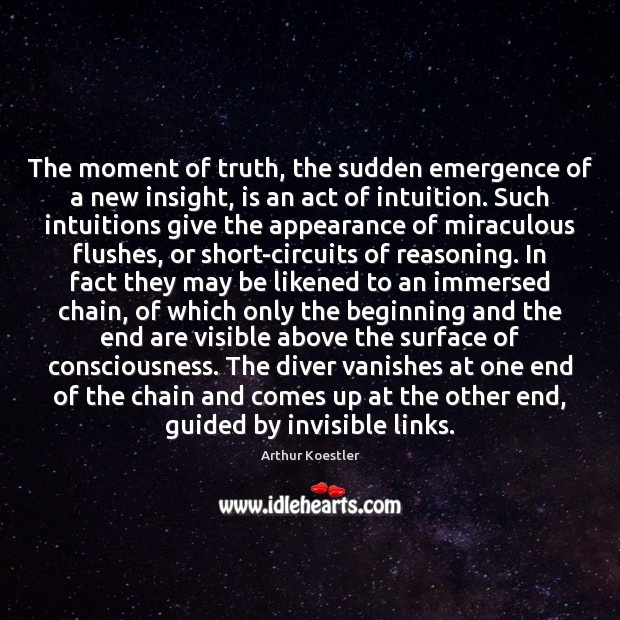 The moment of truth, the sudden emergence of a new insight, is Appearance Quotes Image