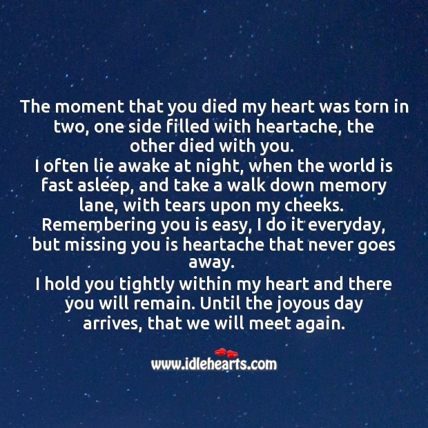The moment that you died my heart was torn in two. Missing You Quotes Image