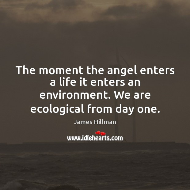The moment the angel enters a life it enters an environment. We James Hillman Picture Quote
