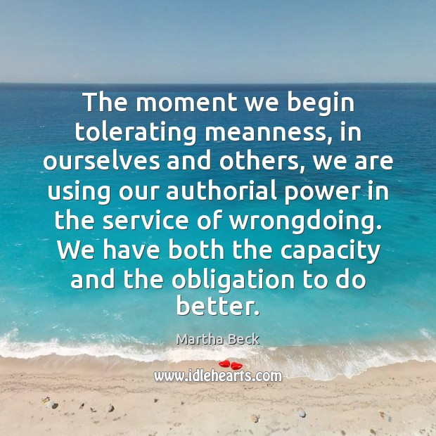 Image, The moment we begin tolerating meanness, in ourselves and others, we are