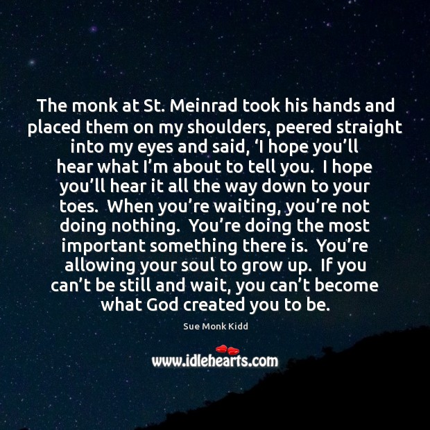 Image, The monk at St. Meinrad took his hands and placed them on