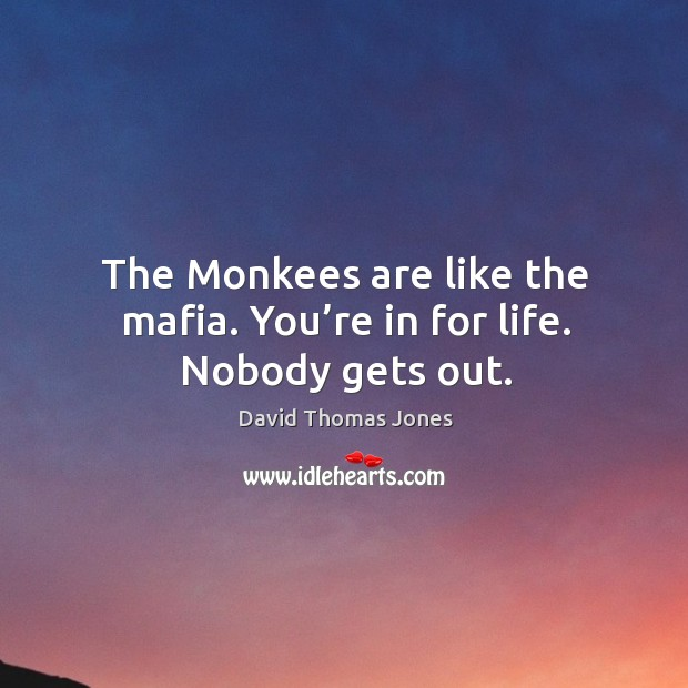The monkees are like the mafia. You're in for life. Nobody gets out. Image