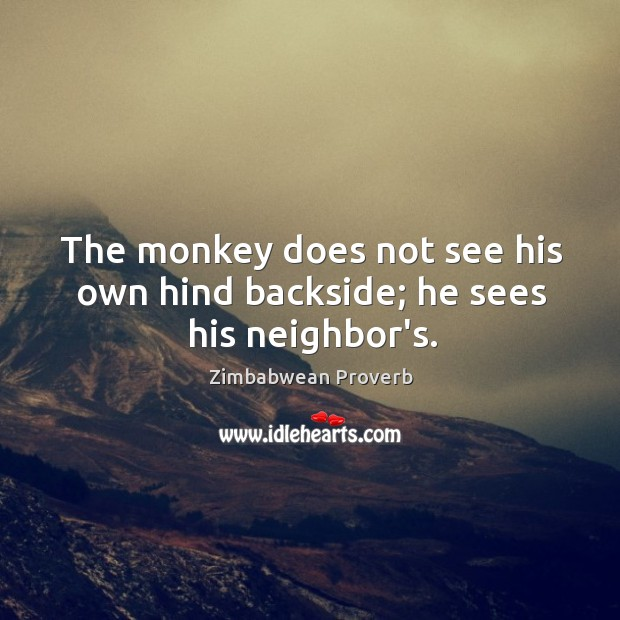 The monkey does not see his own hind backside; he sees his neighbor's. Zimbabwean Proverbs Image