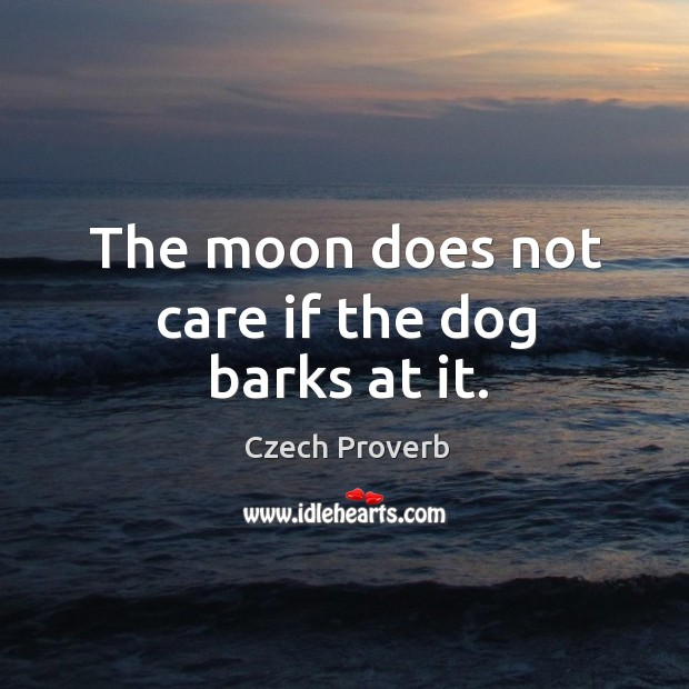 The moon does not care if the dog barks at it. Czech Proverbs Image