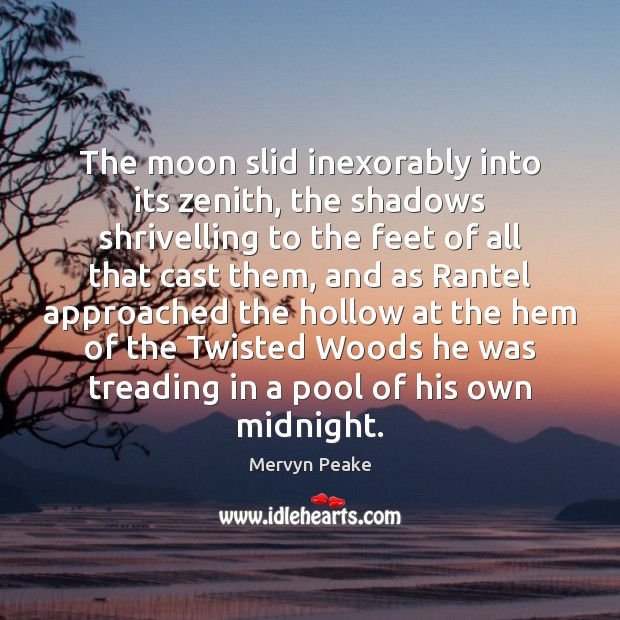 The moon slid inexorably into its zenith, the shadows shrivelling to the Mervyn Peake Picture Quote