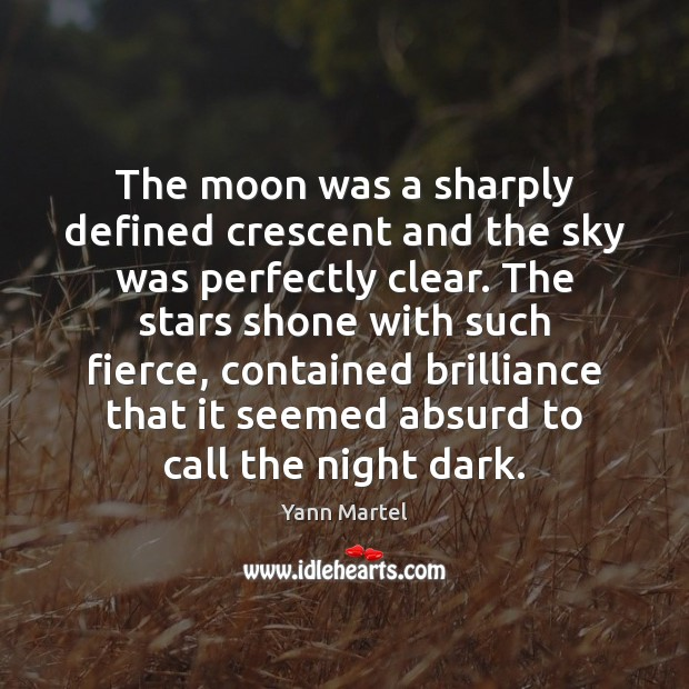 Image, The moon was a sharply defined crescent and the sky was perfectly