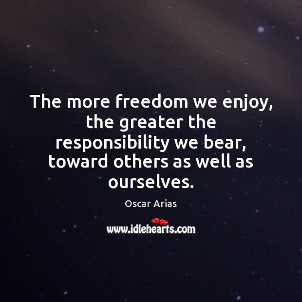 The more freedom we enjoy, the greater the responsibility we bear, toward Image