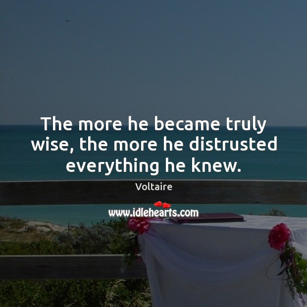 Image, The more he became truly wise, the more he distrusted everything he knew.