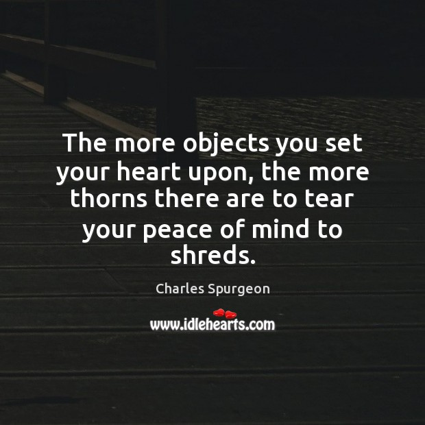 The more objects you set your heart upon, the more thorns there Image