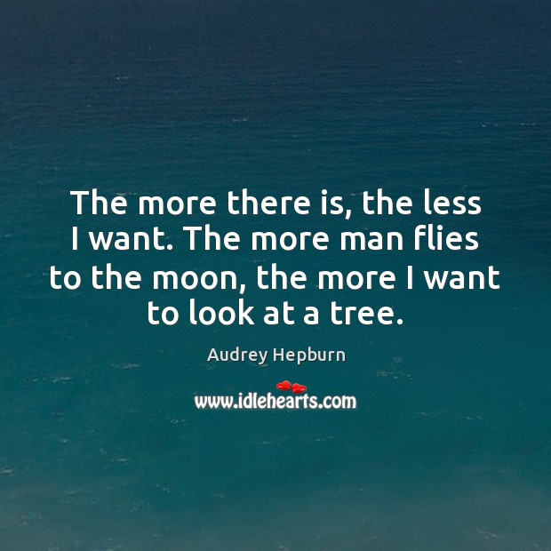 The more there is, the less I want. The more man flies Image