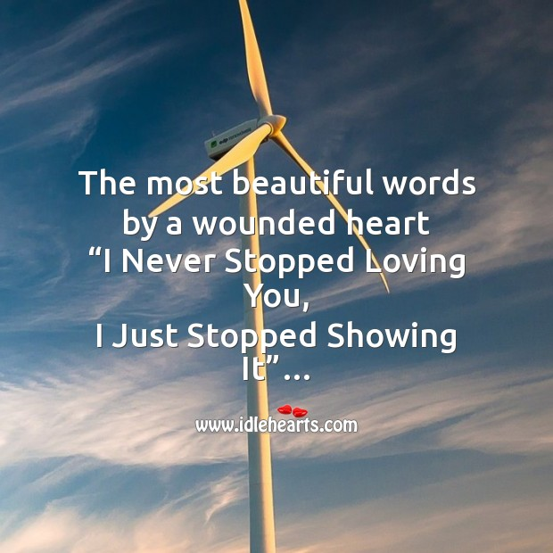 The most beautiful words by a wounded heart Broken Heart Messages Image