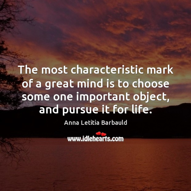 The most characteristic mark of a great mind is to choose some Image