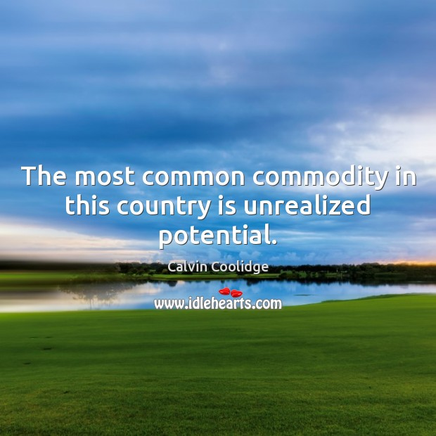 The most common commodity in this country is unrealized potential. Calvin Coolidge Picture Quote