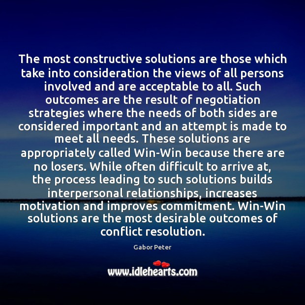 Image, The most constructive solutions are those which take into consideration the views