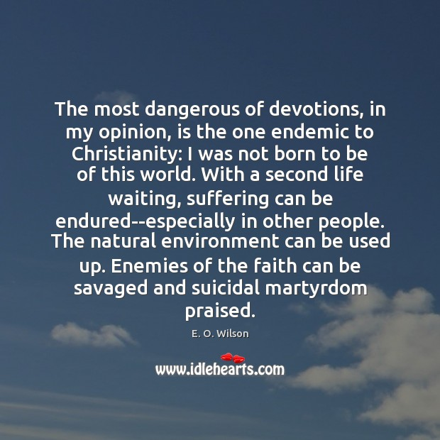 The most dangerous of devotions, in my opinion, is the one endemic Image