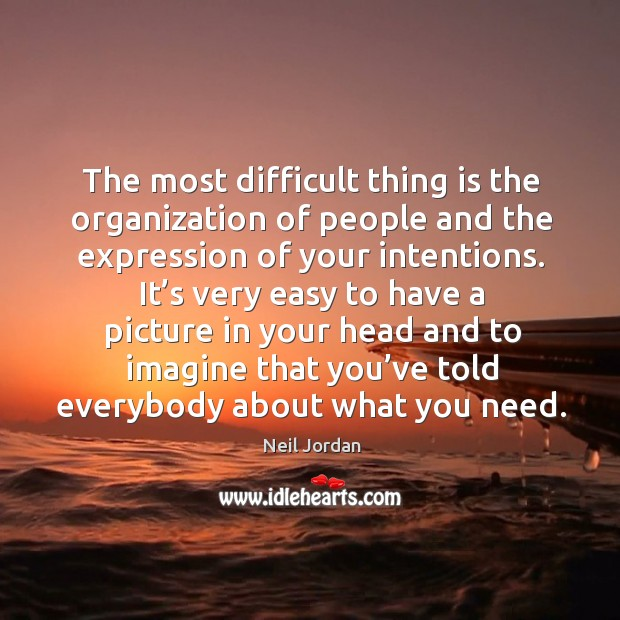 The most difficult thing is the organization of people and the expression of your intentions. Image